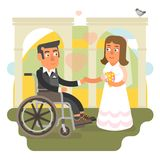 Wheelchair wedding. Differently abled husband on wheelchair in wedding Royalty Free Stock Images