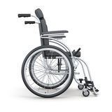 Wheelchair on a white background. Side view. 3d rendering Royalty Free Stock Photo