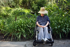 Wheelchair woman. Handicapped senior woman sitting in a wheelchair Royalty Free Stock Photography