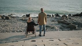 Wheelchair woman user and healthy man are holding hands and watching seascape stock video footage