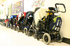 Wheelchairs. Wheelchais outside a special education classroom Royalty Free Stock Photos