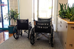 Wheelchairs with Cancer Center on back in waiting room. Three wheelchairs in a medical waiting room that have the words Cancer Center on the back.  Glass window Royalty Free Stock Photo