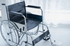 Wheelchairs in hospital room. stock photo