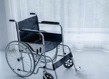 Wheelchairs in hospital room. This vehicle is used to transport patients who can not move or disable to help themselves. Insurance, health problem concepts stock images