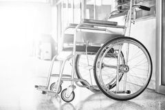 Wheelchairs in the hospital ,Wheelchairs waiting for patient services. with light copy space on left area.  Royalty Free Stock Images