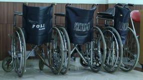 Wheelchairs. JAKARTA, INDONESIA - JANUARY 7, 2017: Wheelchairs at Bhakti Yudha Hospital, Depok, West Java Royalty Free Stock Image