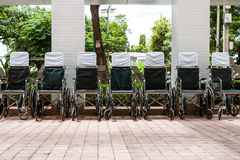 Wheelchairs outside hospital Royalty Free Stock Photos