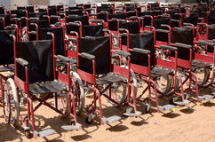 Wheelchairs. Parked on ground Royalty Free Stock Photo
