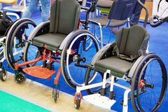 Wheelchairs for sport stock photos