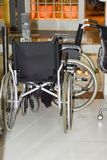 Wheelchairs in the store for sale. No body.  stock photos
