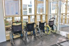 Wheelchairs in Sunderby Hospital royalty free stock image