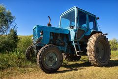 Wheeled agricultural tractor Stock Photo