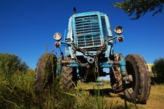 Wheeled agricultural tractor Stock Photos