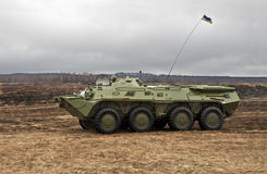 Wheeled armored personnel carrier. Ukrainian wheeled armored personnel carrier attacks stock photos