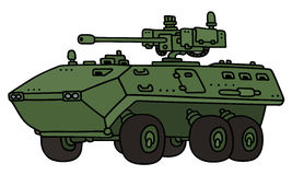 Wheeled armoured vehicle. Hand drawing of a green wheeled armoured vehicle with a machine cannon - not a real model Stock Photo