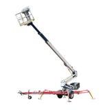 Wheeled artikulerade bangelevatorn med att skjuta ihop bang och korgen Arkivfoton