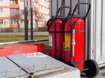 Wheeled foam fire extinguisher tanks royalty free stock images