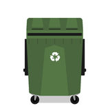 Wheeled garbage can with recycling symbol empty Stock Image