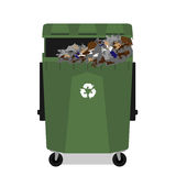 Wheeled garbage can with recycling symbol full Stock Photos