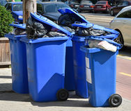 Wheeled garbage cans on the street Royalty Free Stock Photos