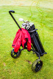 Wheeled golf bag Stock Photo