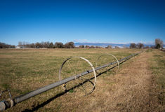 Wheeled irrigation in field in western colorado with farms and s Stock Photography