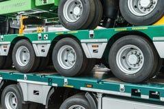 Wheeled platform for transportation of construction equipment Royalty Free Stock Photo