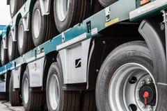 Wheeled platform for transportation of construction equipment Stock Image