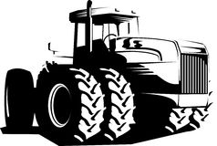 Wheeled tractor black and white. Vector illustration of a wheeled tractor isolated on white Royalty Free Stock Photo