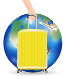 Wheeled travel bag with aeroplane fly travel around the world Stock Photos