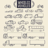 Wheeled vehicles icons Royalty Free Stock Images
