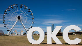 Wheeler Ferris Wheel i oklahoma city som är reko Royaltyfri Foto