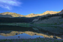 Wheeler Lake. Alpine lake in northern New Mexico with reflected mountains. Shot on the Wheeler Peak Trail, New Mexico's highest point Royalty Free Stock Photography