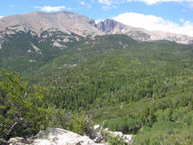 Wheeler Peak in the Great Basin National Park, Nevada. Wheeler Peak, elevation 13.063 feet, is seen at the upper center.This area is found within the Great Basin stock images