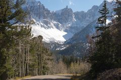 Wheeler Peak, Great Basin NP with park road Royalty Free Stock Photography