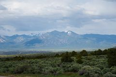 Wheeler Peak, Taos, New Mexico. Snow capped Wheeler Peak, the highest point in New Mexico, over looks Taos, New Mexico royalty free stock photography