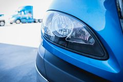 18 wheeler semi truck headlight parked in lot stock images