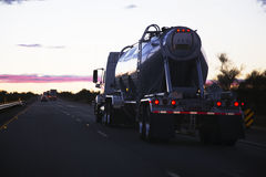 18-wheeler semi-truck tanker drives west on Interstate 10, near Palm Springs, California, USA Stock Photos