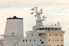 Wheelhouse deck of a modern industrial ship Royalty Free Stock Photo