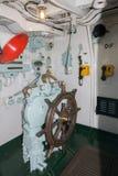 HMS Cavalier Wheelhouse. The Wheelhouse of HMS Cavalier a retired C-class destroyer of the Royal Navy stock photos