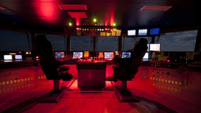 Wheelhouse in modern ship Royalty Free Stock Photography