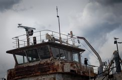 Wheelhouse old rusty ship Royalty Free Stock Images