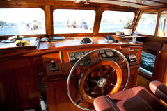 Wheelhouse of a wooden steamer Stock Photo