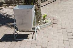 Wheelie bin in silver Stock Image