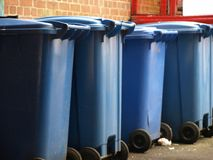 Wheelie bins. Blue wheelie bins Stock Image