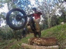Wheelie för försöksmutscykel Royaltyfri Foto
