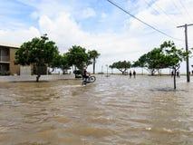 Wheelie i översvämmad gata Royaltyfri Bild