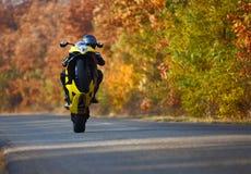 Wheelie op motorfiets stock afbeelding