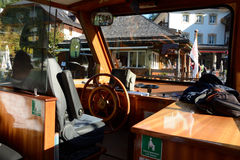 Wheelman's seat on small passenger boat. Royalty Free Stock Images