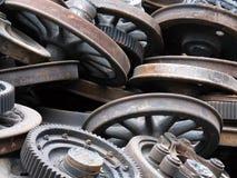 Wheels. Dump of scrap metal in territory of a factory Stock Image